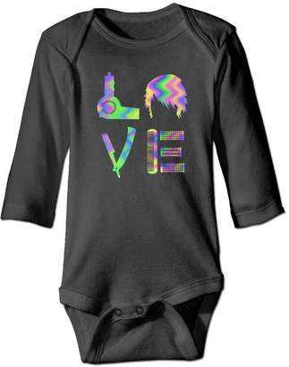 22kmvuiag Love With Hairdressing Stuff Funny Hairdresser Baby Girls' Long Sleeve Onesies Bodysuits