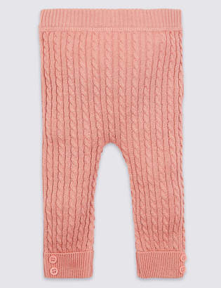 Marks and Spencer Cotton Rich Cable Knit Leggings