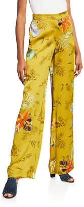 Lafayette 148 New York Columbus Bouquet-Print Wide-Leg Drape Cloth Pants