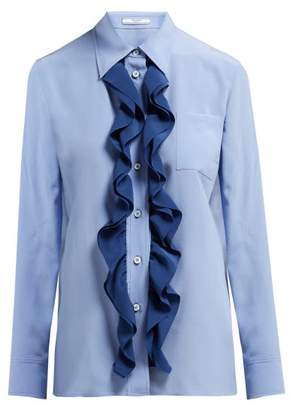 Prada Ruffle Trimmed Silk Blouse - Womens - Blue Multi