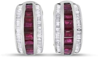 14k White Gold 4.00 tcw Natural Diamond & Ruby Tapered Baguettes Earrings