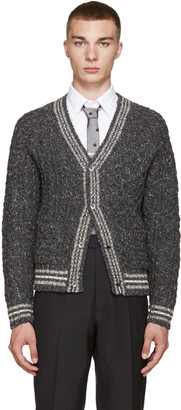 Thom Browne Grey Cable Knit Cardigan $650 thestylecure.com