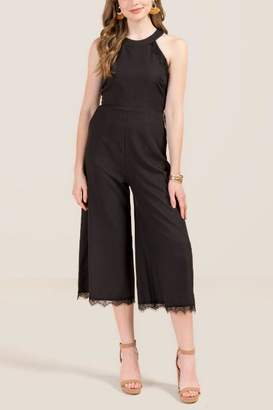 Korinne High Neck Lace Trim Jumpsuit - Black