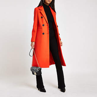 River Island Red double breasted longline coat