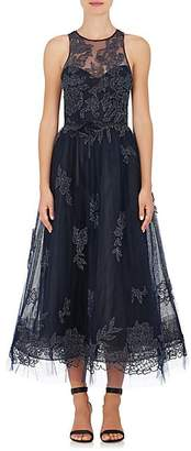 Monique Lhuillier WOMEN'S EMBELLISHED TULLE SLEEVELESS GOWN - NAVY SIZE 4