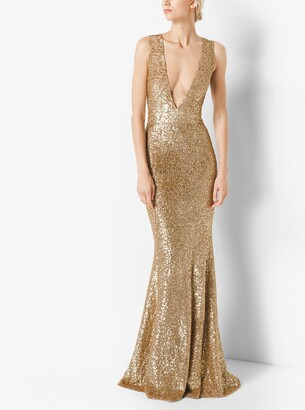 Michael Kors Sequined Deep-V-Neck Gown
