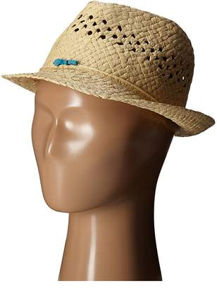 San Diego Hat Company Kids Paper Fedora Hat with Open Weave and Turquoise Trim Fedora Hats