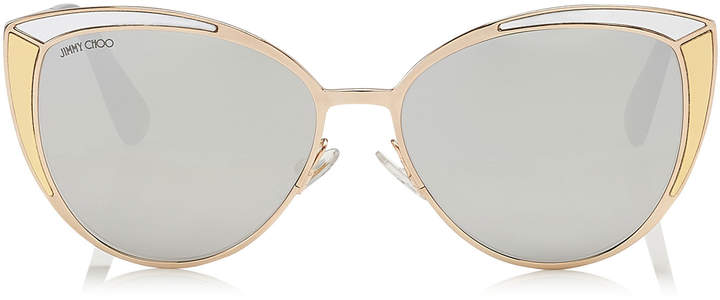 Jimmy Choo DOMI Metal Framed Cat Eye Sunglasses with Silver and Gold Leather Detail