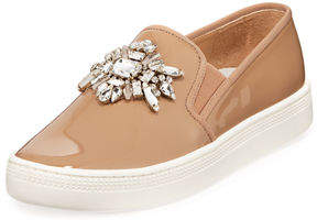 Badgley Mischka Barre Jeweled Patent Slip-On Sneakers