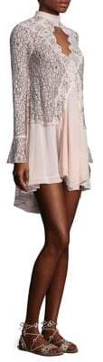 Free People Tell Tale Lace Keyhole Long Sleeve Tunic