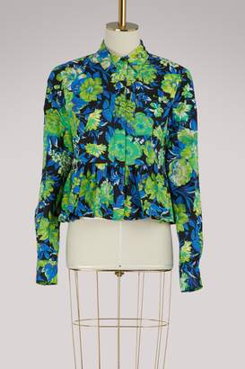 MSGM Printed flowers shirt with ruffles