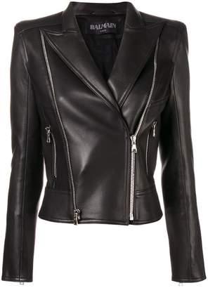 Balmain classic fitted biker jacket