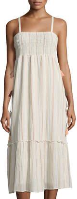 Love Sam Smocked-Top Striped Midi Dress