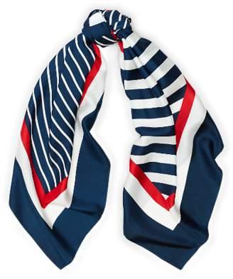 Ralph Lauren Contrast-Stripe Silk Scarf