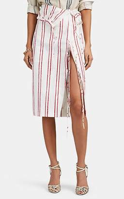 Altuzarra Women's Drawstring-Detailed Striped Cotton Skirt - White