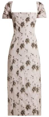Brock Collection Odilia Floral Print Panelled Midi Dress - Womens - Ivory Multi