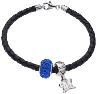 Logoart LogoArtMilwaukee Brewers Crystal Sterling Silver & Leather Charm Bracelet