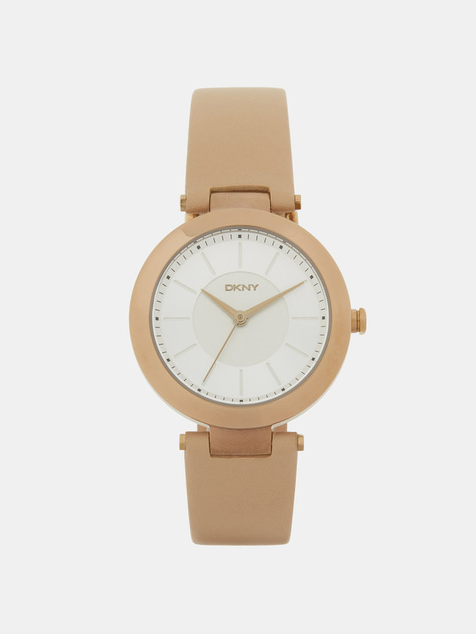 DKNY Stanhope Beige Leather 3 Hand Watch