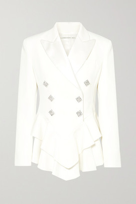 Alessandra Rich - Crystal-embellished Satin-trimmed Wool-crepe Peplum Blazer - Cream