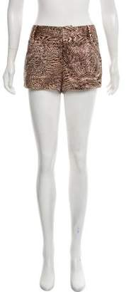 Alice + Olivia Silk Printed High-Rise Mini Shorts