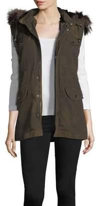 Belle Fare Canvas Cargo Vest w/Fur Trim
