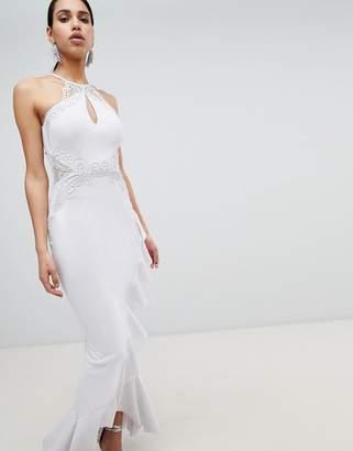Lipsy Lace Applique Frill Maxi Dress