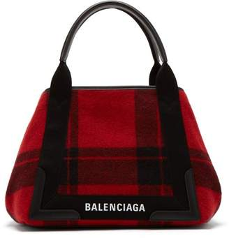 Balenciaga Cabas S Plaid Bag - Womens - Black Red