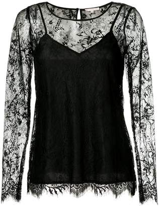 Gold Hawk long-sleeved lace top