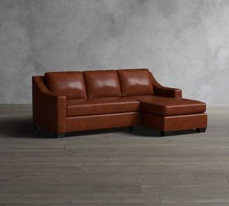 Pottery Barn York Slope Arm Leather Sofa with Chaise Sectional