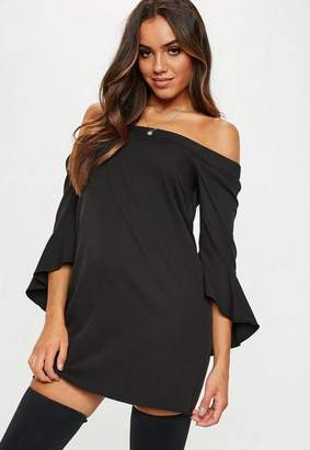 Missguided Black Bardot Frill Sleeve Shift Dress