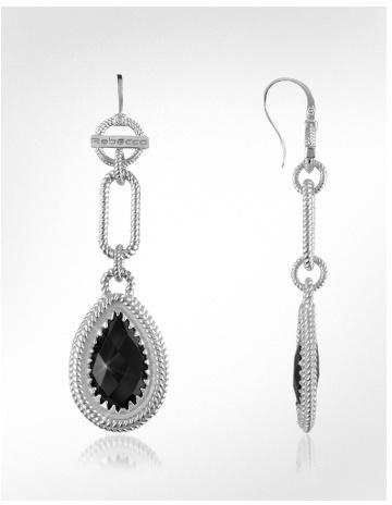 Rebecca Roma Imperiale - Black Stone Sterling Silver Drop Earrings