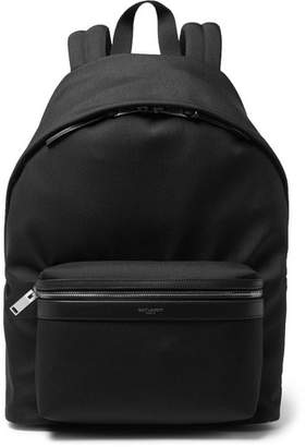 Saint Laurent City Leather-Trimmed Canvas Backpack