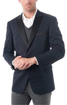 Verno Big Men's Navy Blue Textured Tuxedo Jacket with Satin Peak Lapel