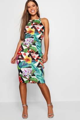 boohoo Petite Pagan Tropical Print Bodycon Dress