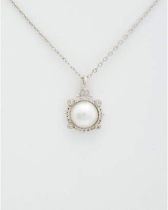 Judith Ripka Silver 3.02 Ct. Tw. White Topaz & 10-10.5Mm Mabe Pearl Necklace