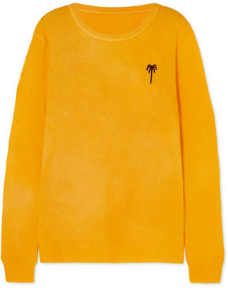 The Elder Statesman Billy Embroidered Cashmere Sweater - Yellow
