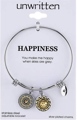 """Unwritten Two-Tone Crystal Accented """"You Make Me Happy"""" Sun Charm Adjustable Bangle Bracelet in Stainless Steel"""