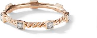 David Yurman Cable Stack Ring in 18K Rose Gold with Diamonds