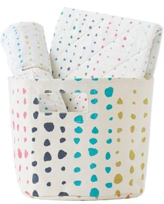 petit pehr Painted Dots Changing Pad Cover, Swaddle & Bin Set