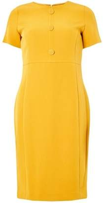 Dorothy Perkins Womens Yellow Button Front Pencil Dress