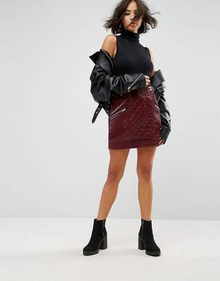 Asos DESIGN Leather Look Puffer Mini Skirt with Quilting Detail