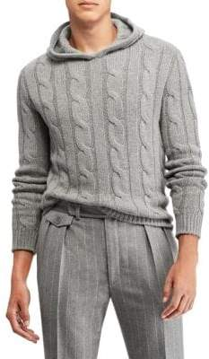 Ralph Lauren Purple Label Cable Knit Hoodie Sweater