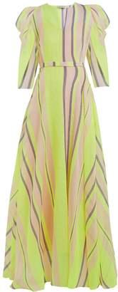 Vika Gazinskaya Puff-sleeved striped organza gown