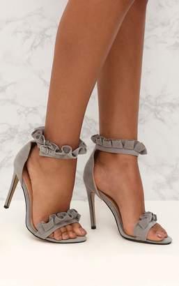 PrettyLittleThing Grey Frill Strap Heels