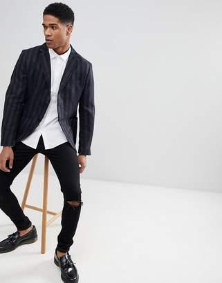 Sisley Patch Pocket Blazer In Slim Fit With Stripe