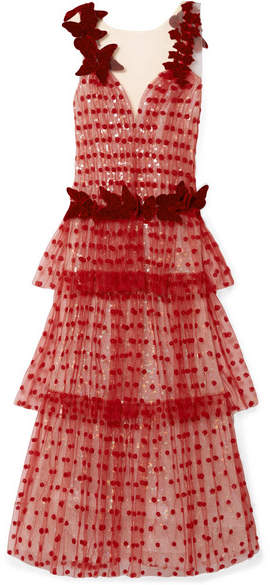 Rodarte - Velvet-trimmed Appliquéd Layered Tulle Gown