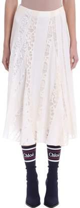 Chloé White Silk Long Skirt