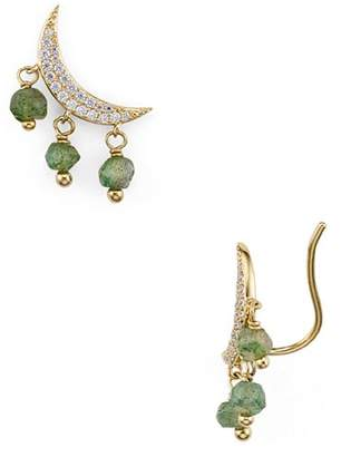 Nadri Mira Stone Crescent Climber Earrings