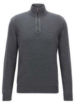 BOSS Hugo Waffle-Knit Wool Sweater Nacello S Grey