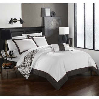 Hotel Collection Chic Home 3-Piece Maribeth Grey and White REVERSIBLE Medallion printed PLUSH Twin Duvet Cover Set Grey
